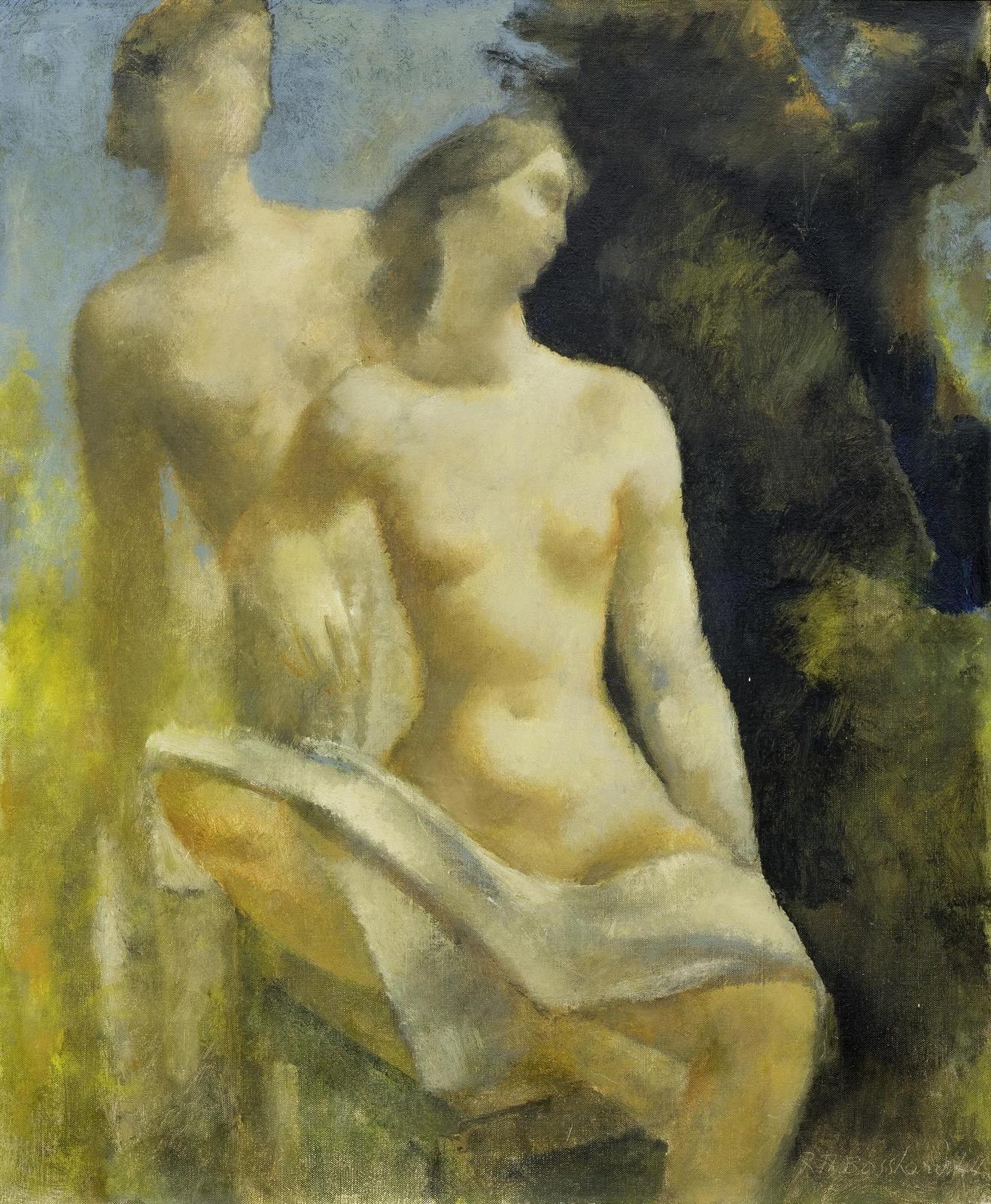 1944_Обнаженные (Female nudes, seated and standing)_54.6 x 45.7_х.,м._Частное собрание.jpg
