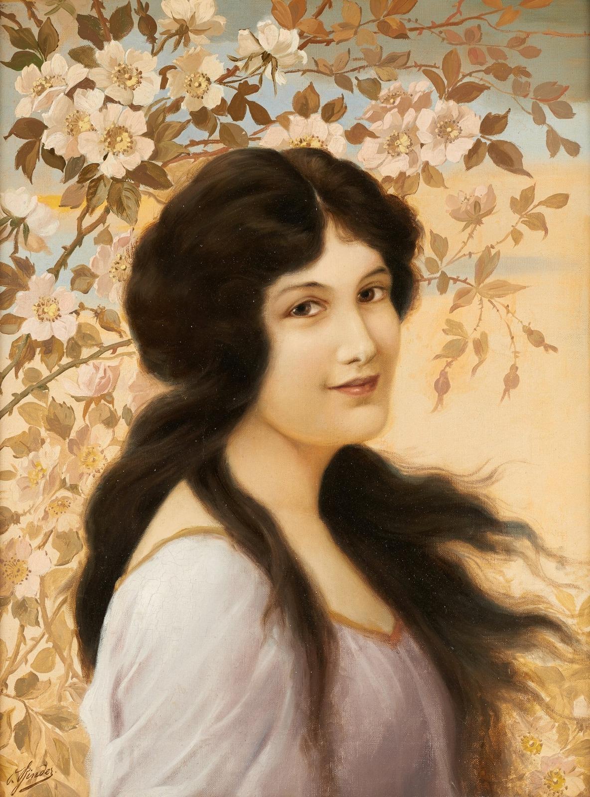 Alois Binder, 1857-1933_Девушка на ветру (Jeune fille dans le vent)_61 х 36_х.,м._Частное собрание.jpg