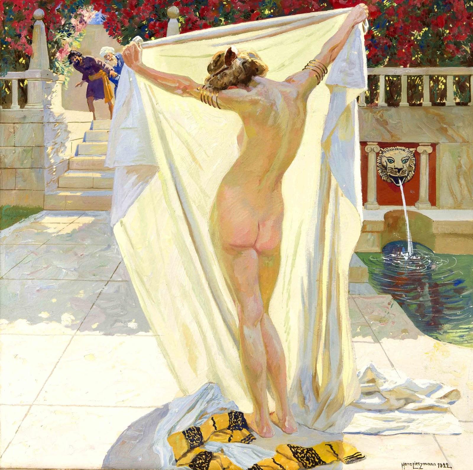 Hans Lietzmann, 1872-1955 (Германия)_Сусанна в купальне (Susanna in the bath)_1923_47 х 48_картон, гуашь_Частное собрание.jpg