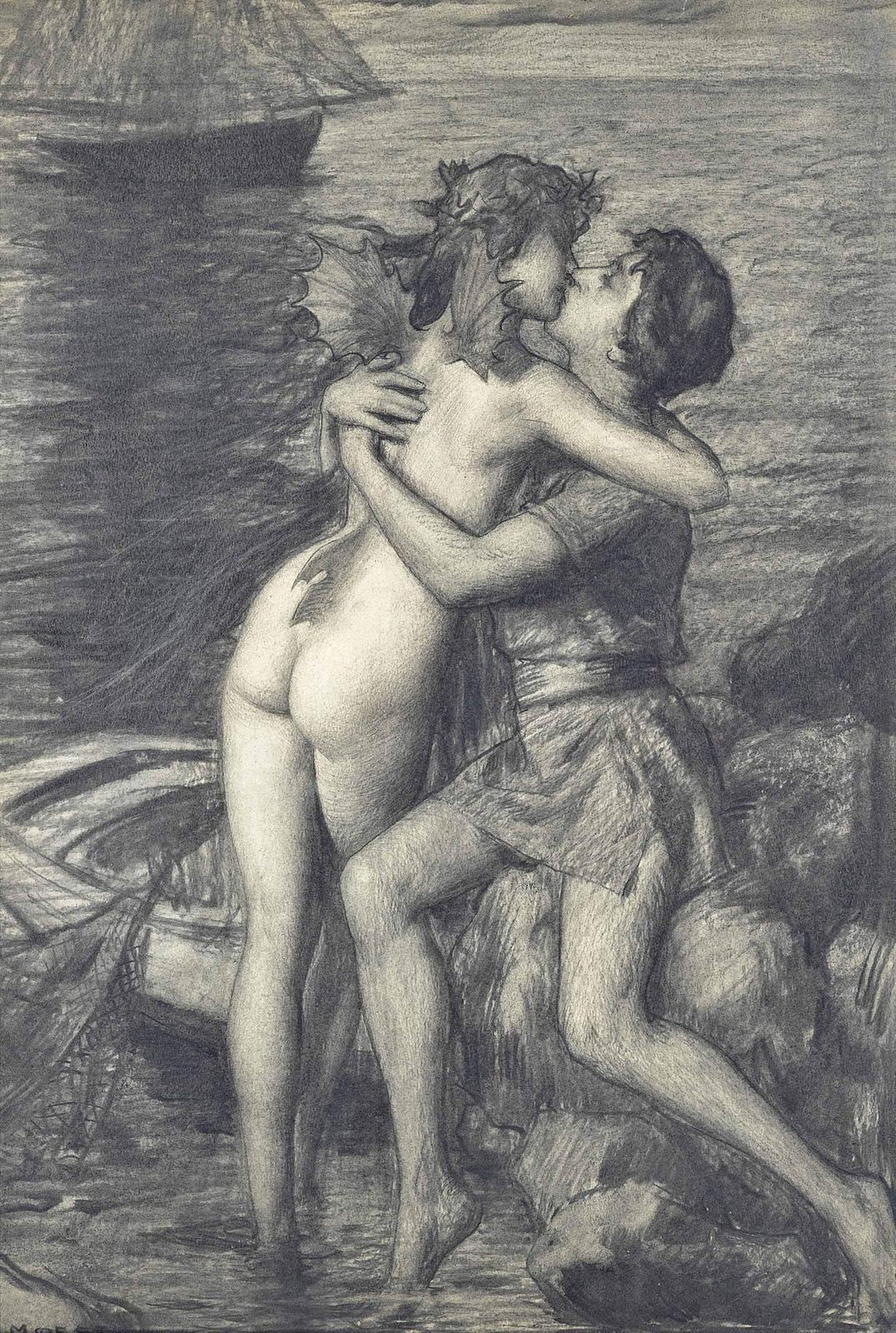 Hermann Moest, 1868-1945_Сон рыбака (The dream of the fisherman)_55.5 x 37.5_бумага, уголь_Частная коллекция.jpg