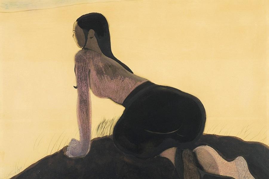 1910_Девушка в дюнах (Jeune fille dans les dunes)_75 х 100_акварель и пастель_Частное собрание.jpg