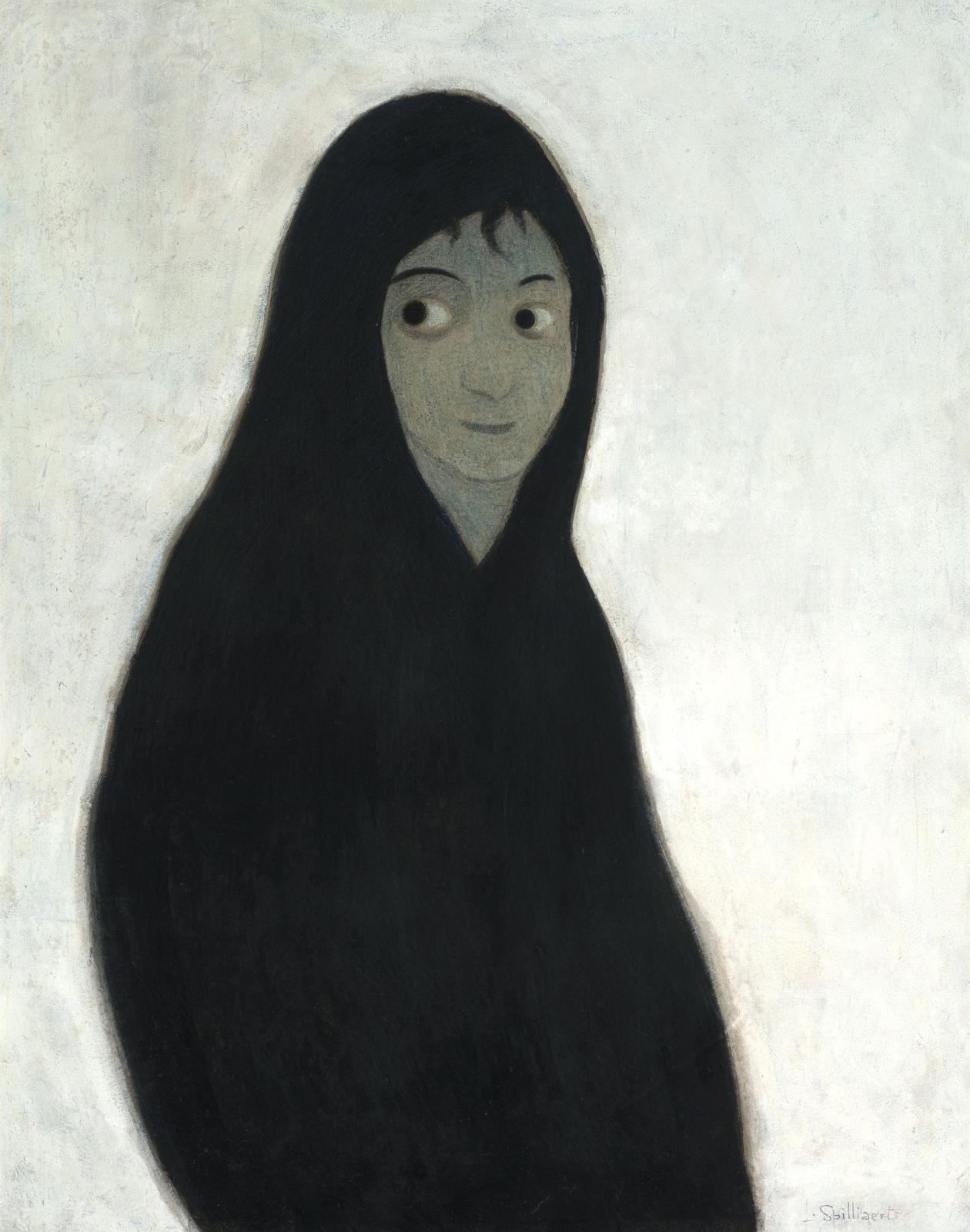 1913_Жена рыбака в черном платке на снегу (Wife of a fisherman in the black shawl in the snow)_89.5 х 70.5_бумага, пастель, тушь, цветные карандаши и мел.jpg