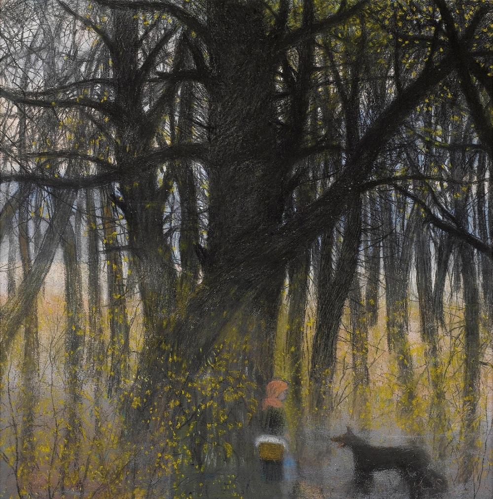 1923_Красная Шапочка и волк в лесу (Le Petit Chaperon Rouge et le Loup Dans la Foret)_50 х 48_бумага, пастель, уголь и мелки_Частное собрание.jpg