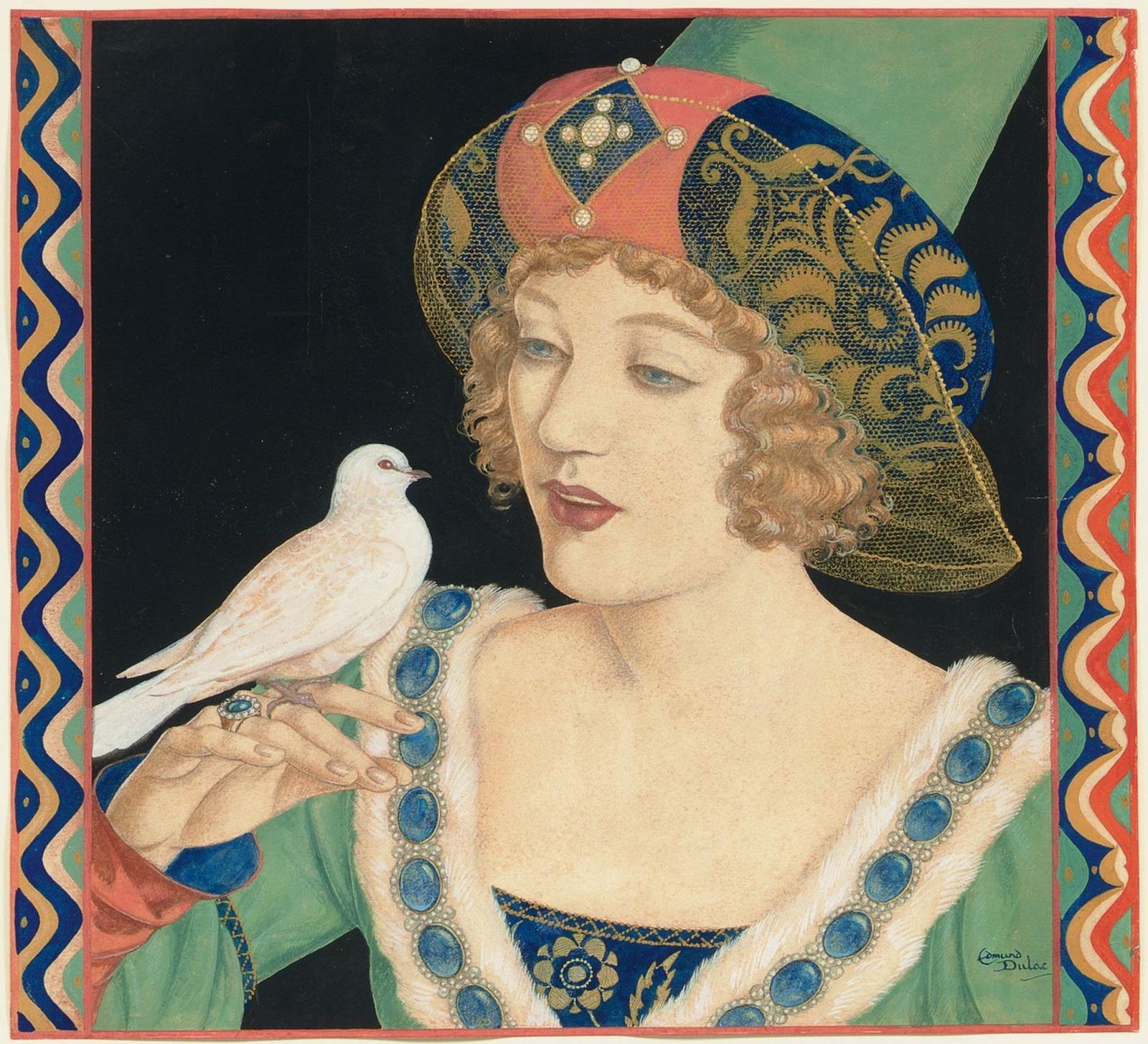 1922 (ок)_Принцесса и белый голубь (Портрет Марион Дэвис)) (The Princess and the White Dove (Portrait of Marion Davies))_31.5 х 23_бумага, графит и гуашь_Частное собрание.jpg