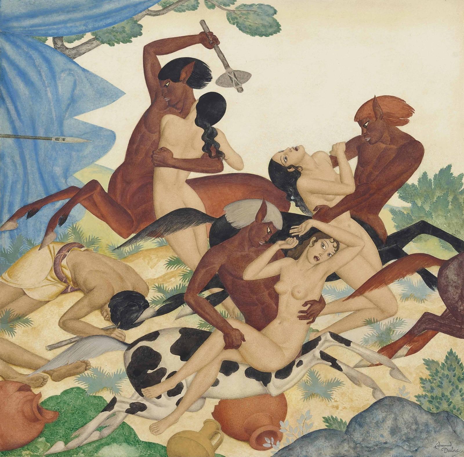 Похищение лапифянок (The rape of the Lapithae Women)_33 х 30.5_бумага, карандаш и акварель_Частное собрание.jpg