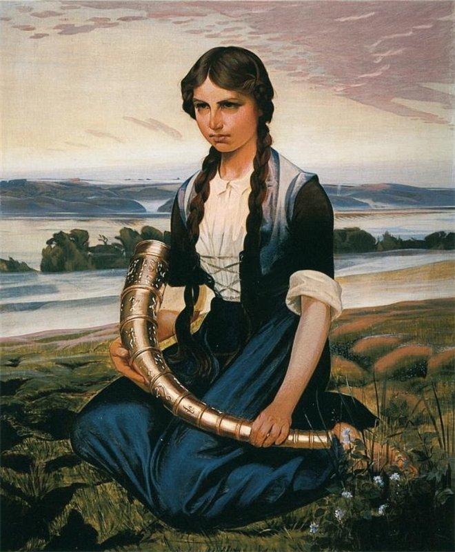 11_1906_Девушка, нашедшая золотой рог (The Girl Who Finds The Gold Horn)_140 х 120_х.,м._Хадерслёв, Музей.jpg