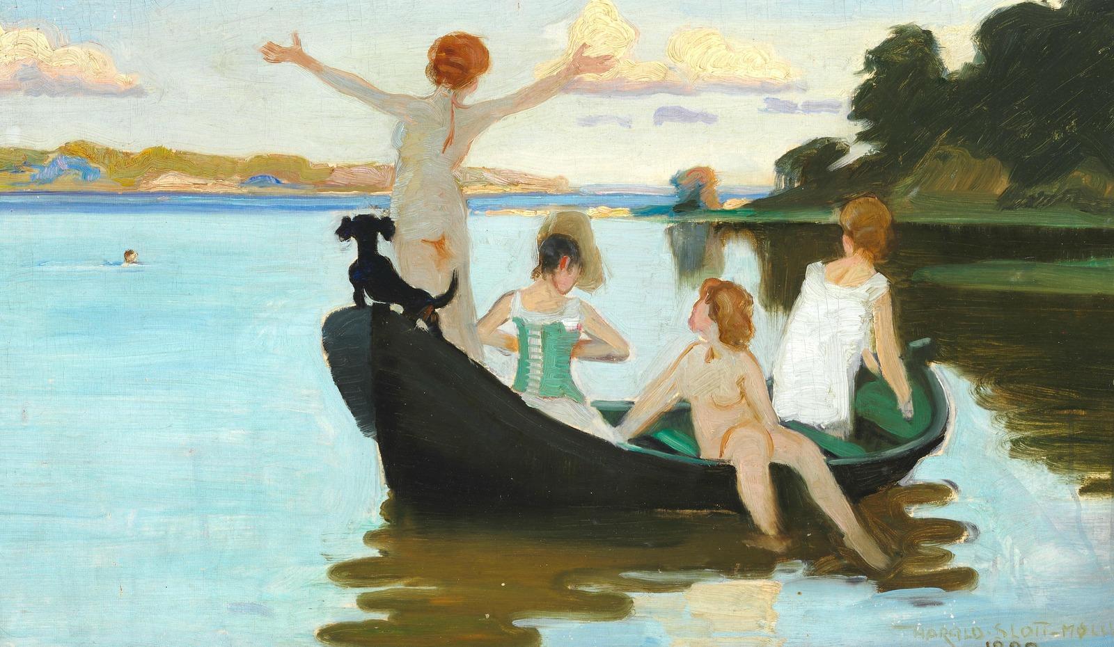 1890_Купание девушек в лодке в летний день перед заходом солнца (Bathing girls in a rowboat on a summer day just before sunset)_39 х 64_х.,м._Частное собрание.jpg