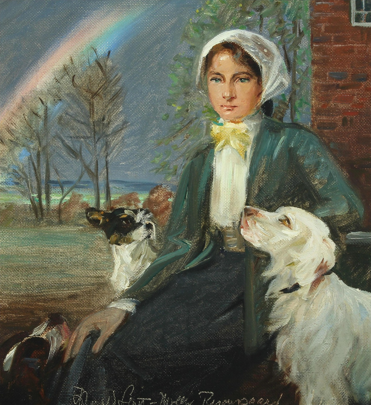 Под радугой. Молодая женщина с собаками (Under the rainbow. A young woman with her dogs at Ryomgaard)_43 х 40_х.,м._Частное собрание.jpg