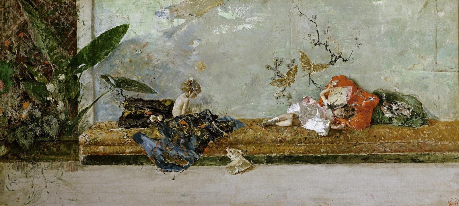 MARIANO FORTUNY Y MARSAL - Filhos do artista num jardim japonês - Óleo sobre tela - 44 x 93 - 1874.jpg
