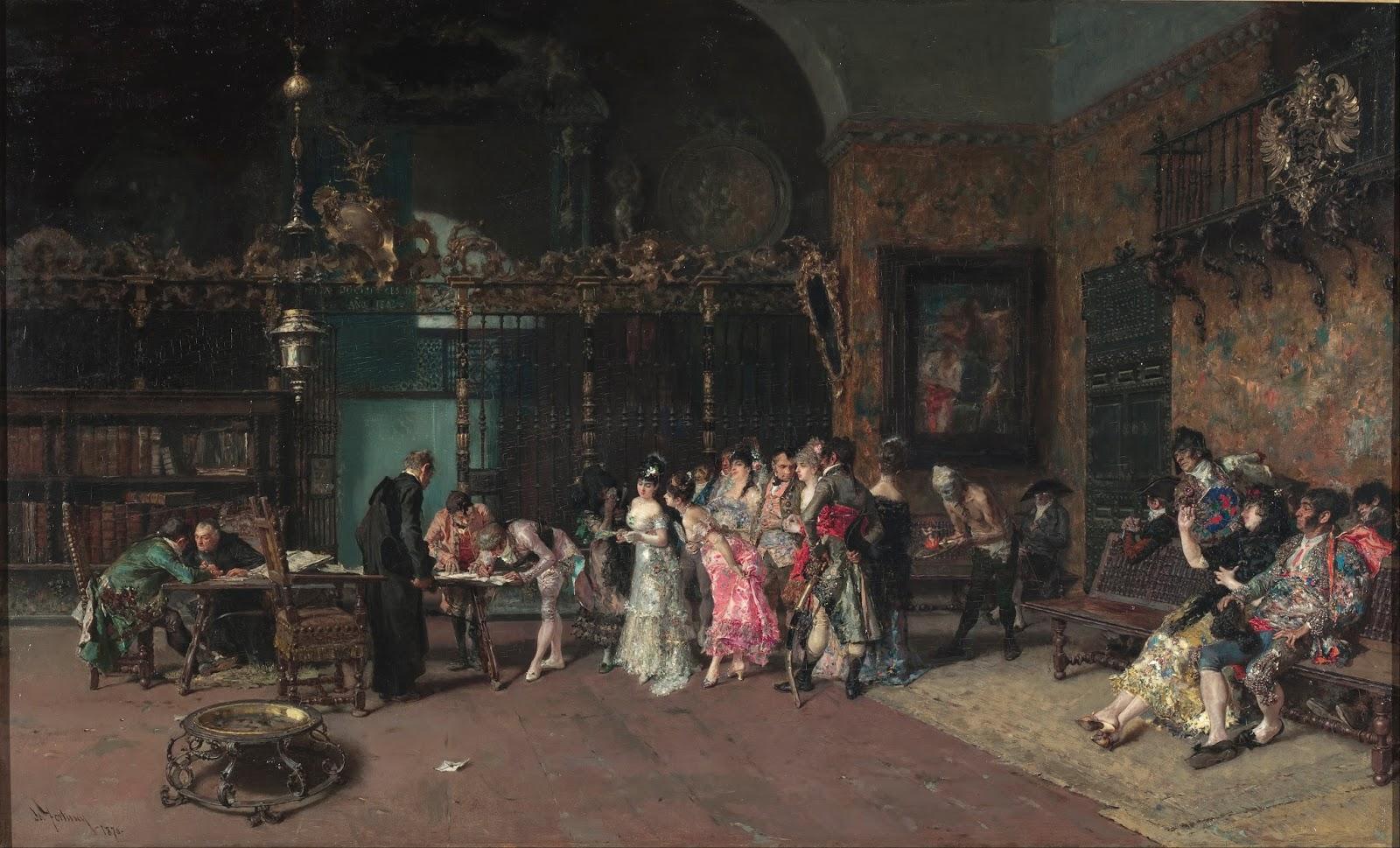 MARIANO FORTUNY Y MARSAL - O casamento espanhol - Óleo sobre tela - 60 x 93,5 - 1870 - Museu Nacional de Arte da Catalunha.jpg