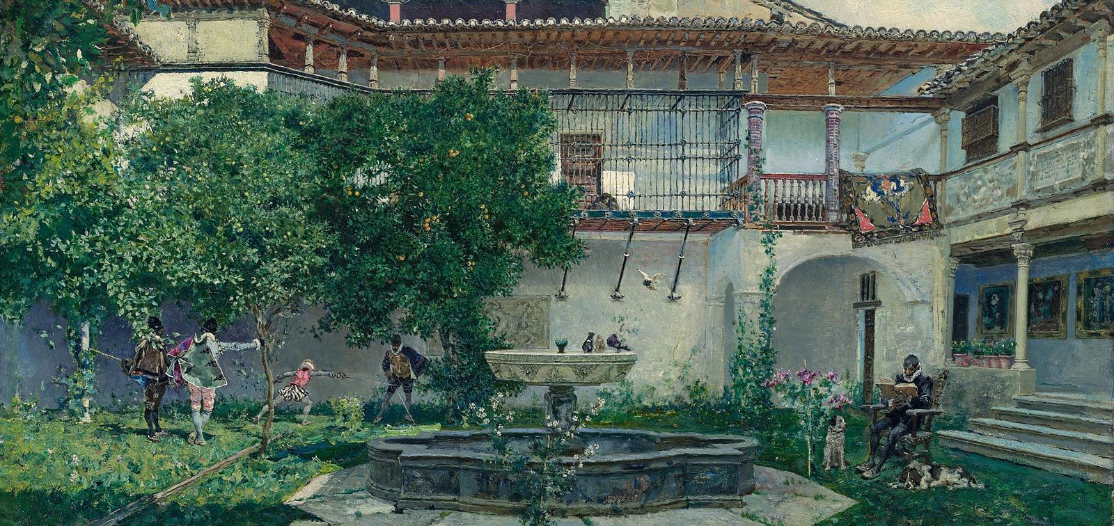 MARIANO FORTUNY Y MARSAL - Um pátio espanhol detalhe - Óleo sobre tela.jpg