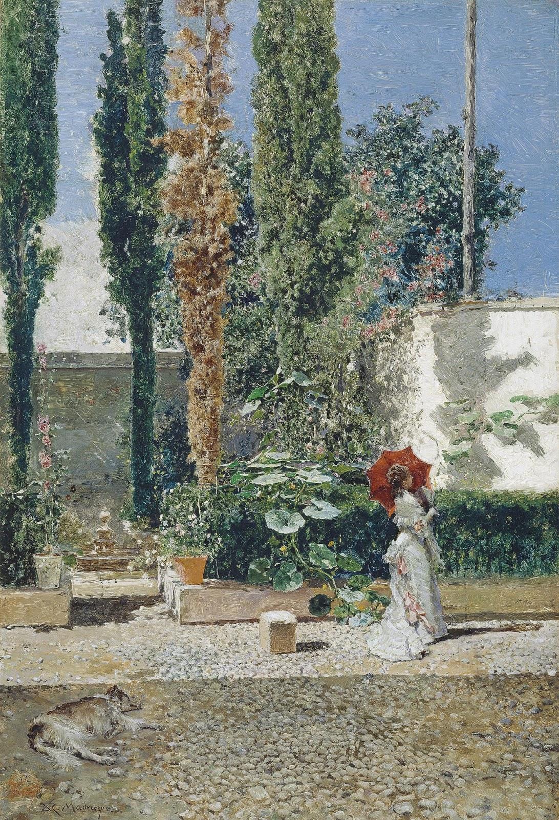 MARIANO FORTUNY Y MARSAL e RAIMUNDO DE MADRAZO - Os jardins da casa de Fortuny - Óleo sobre madeira - 40 x 28 - Entre 1872 e 1877.jpg