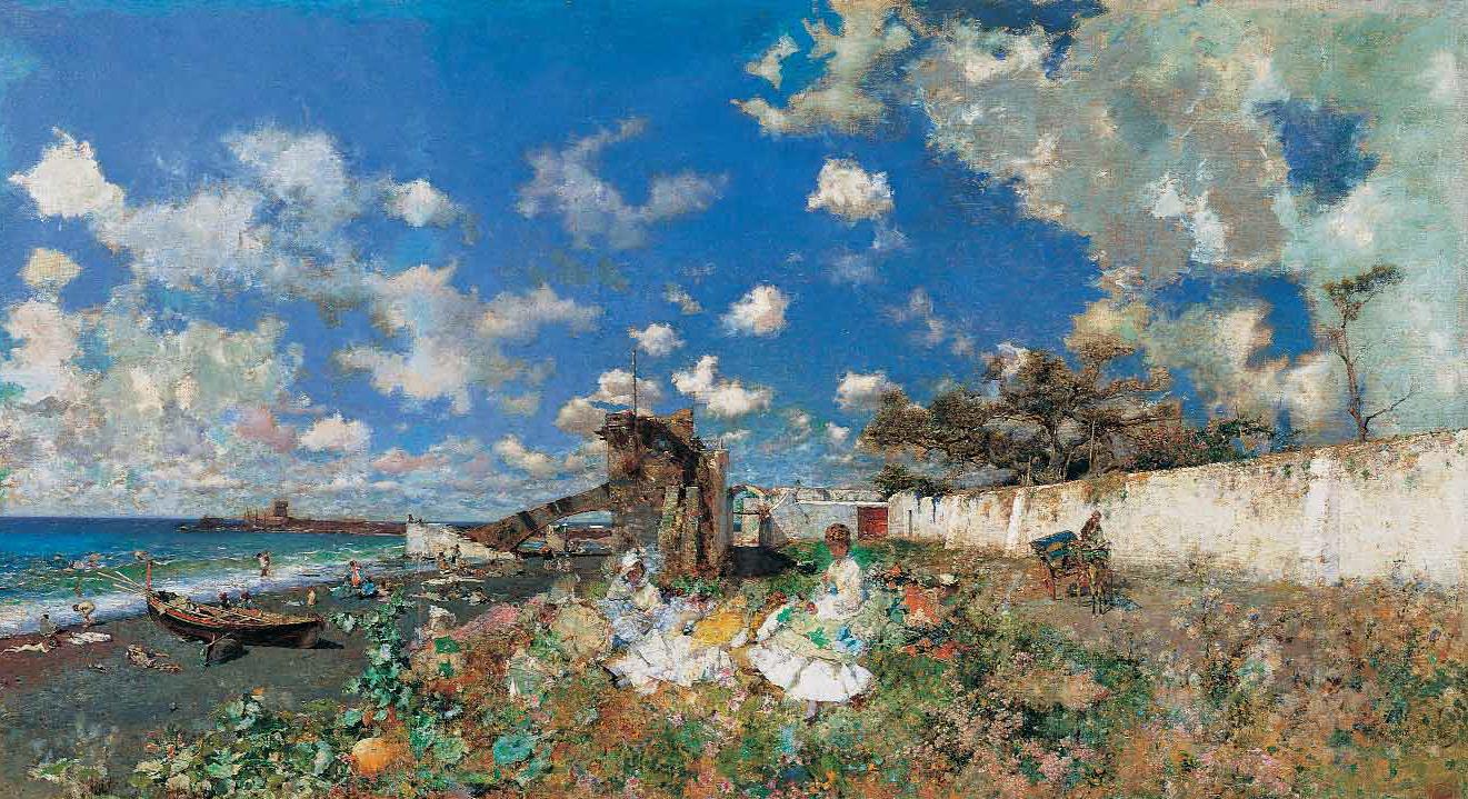 MARIANO FORTUNY Y MARSAL - Praia em Portici - Óleo sobre tela - 1874.png