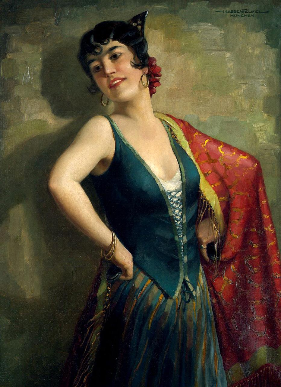 Испанская танцовщица (Spanish dancer)_96 х 70.5_х.,м._Частное собрание.jpg