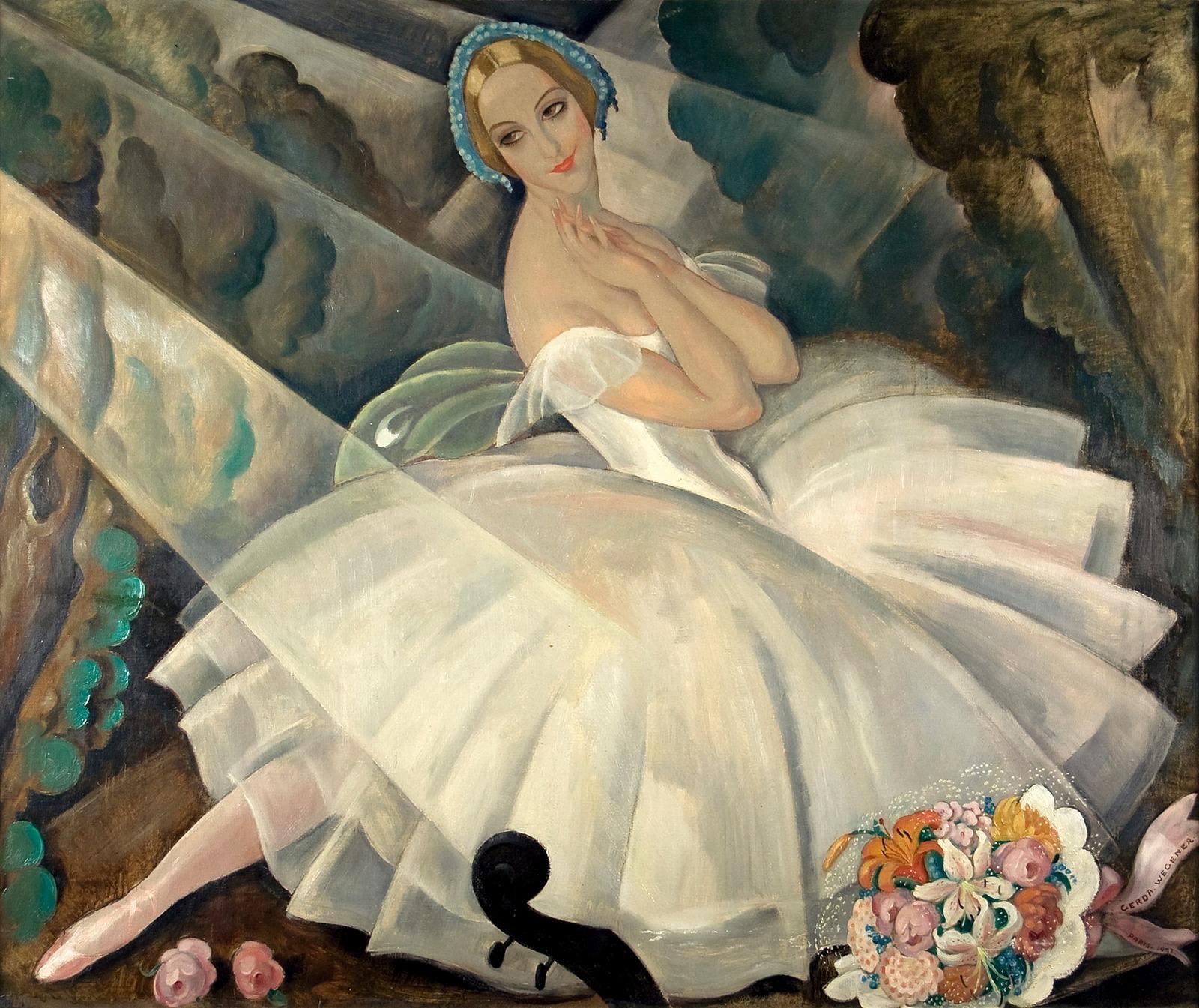 1_1927_Балерина Улла Поульсен в балете «Шопениана», Париж (The Ballerina Ulla Poulsen in the Ballet Chopiniana, Paris)_х.,м._Копенгаген, Театральный музей в Дворцовом театре.jpg