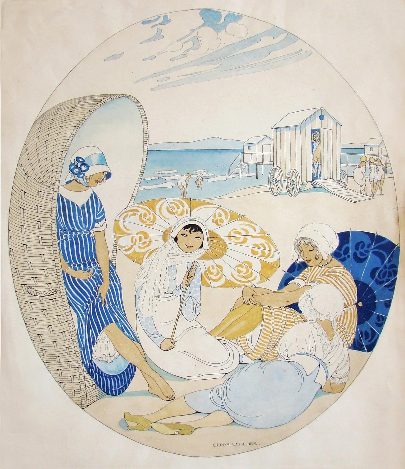 1913_Четыре женщины на пляже (Four Women at the Beach)_43.2 х 36.8_бумага, акварель_Частное собрание.jpg