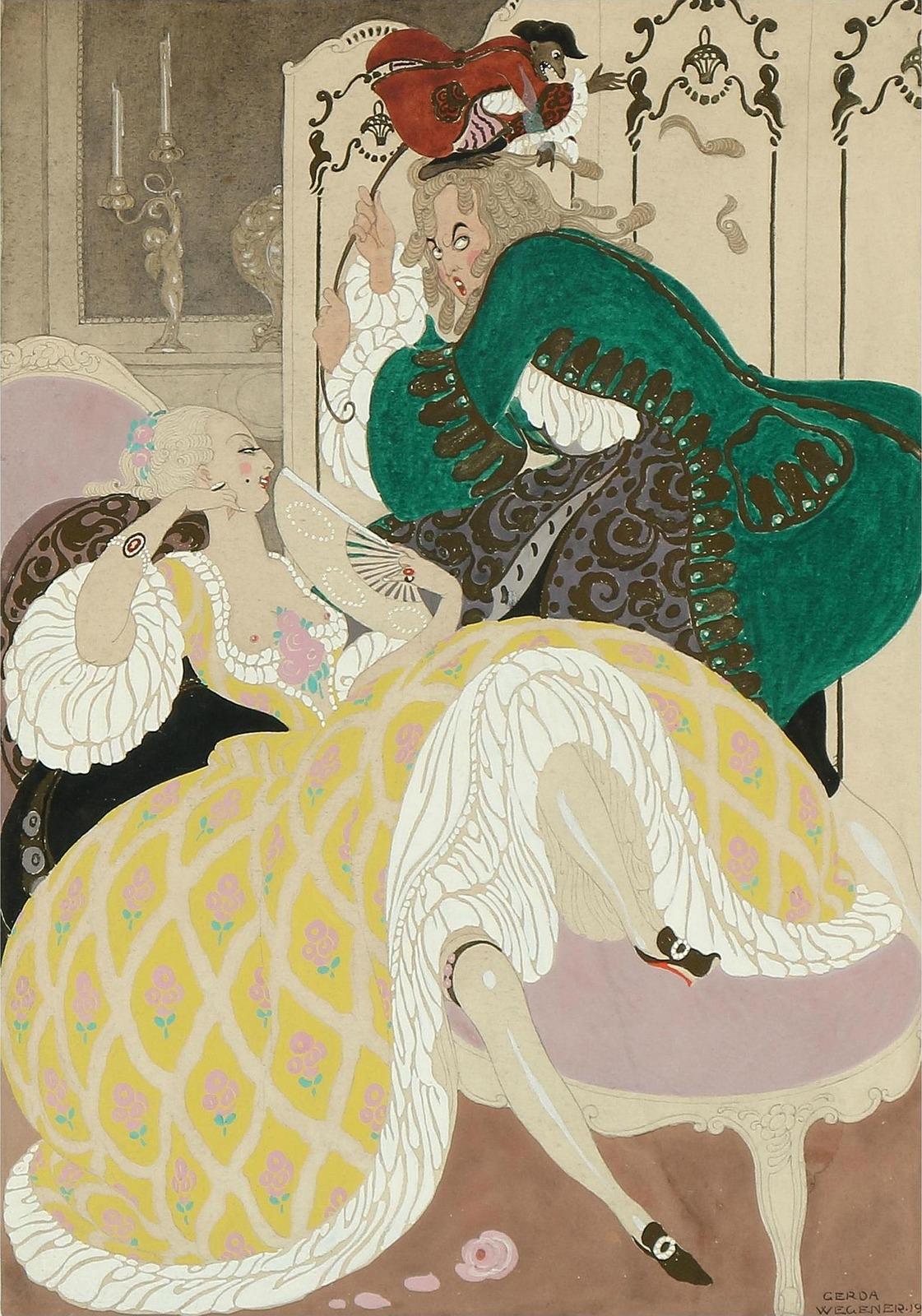1919_Элегантная пара в интерьере рококо (An elegant couple in a rococo interior)_43 х 33_бумага, акварель и гуашь_Частное собрание.jpg