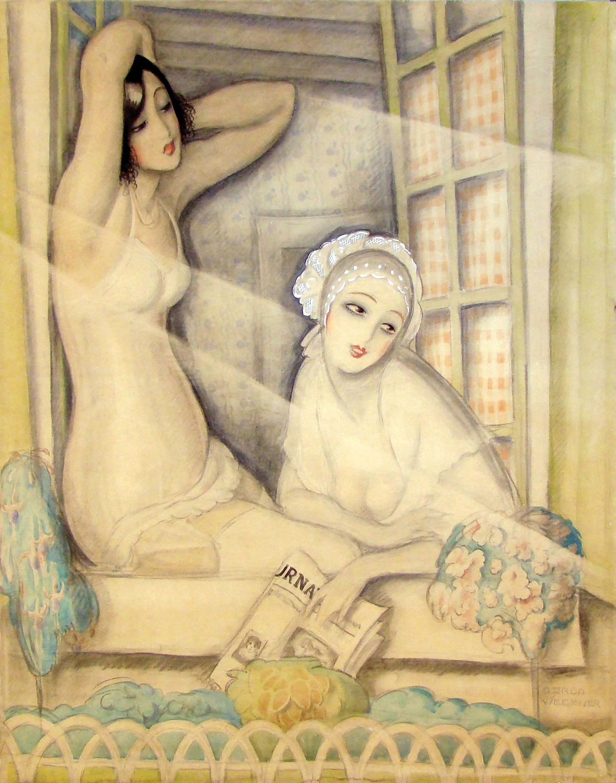 1920 (ок)_Две женщины в окне (Two Women in a Window)_90.8 х 72.7_бумага. акварель, гуашь, карандаш  мел_Частное собрание.jpg