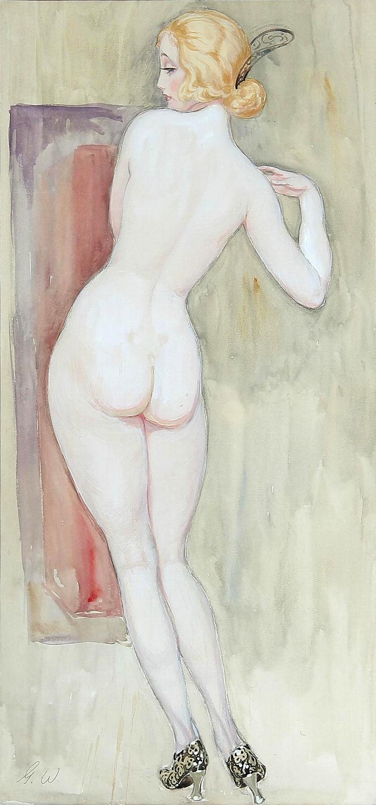 1922_Обнаженная со спины (Back turned female nude in pumps)_75 x 35_бумага, акварель_Частное собрание.jpg