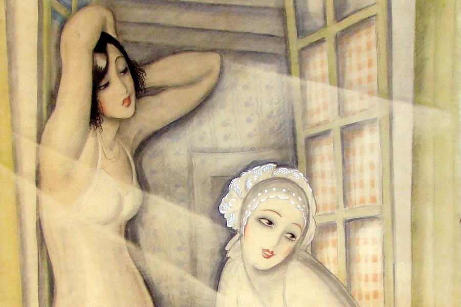 1920 (ок)_Две женщины в окне (Two Women in a Window)_90.8 х 72.7_бумага. акварель, гуашь, карандаш  мел_Частное собрание (1).jpg