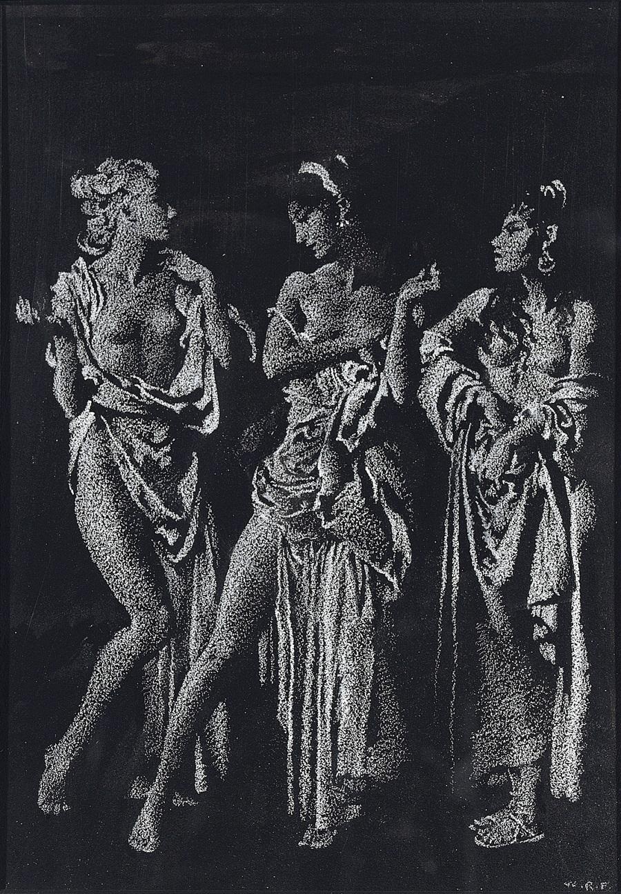 1968_Три грации (The Three Graces)_24.8 х 17.8_черная бумага, белый мел_Частное собрание.jpg