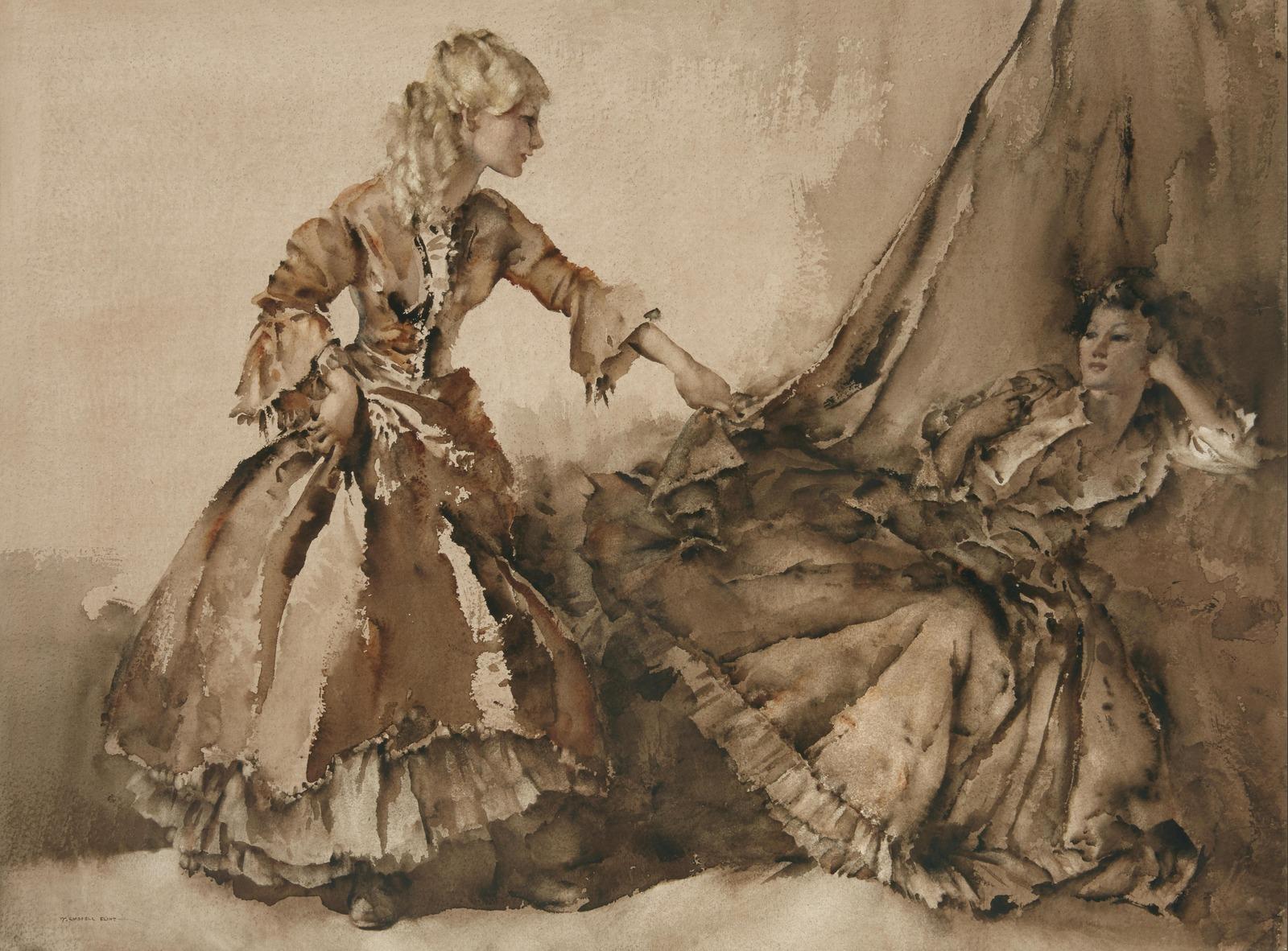 Абигель и Бернадетта (Abigail and Bernadette)_53.5 x 70.5_бумага на картоне, акварель_Частное собрание.jpg