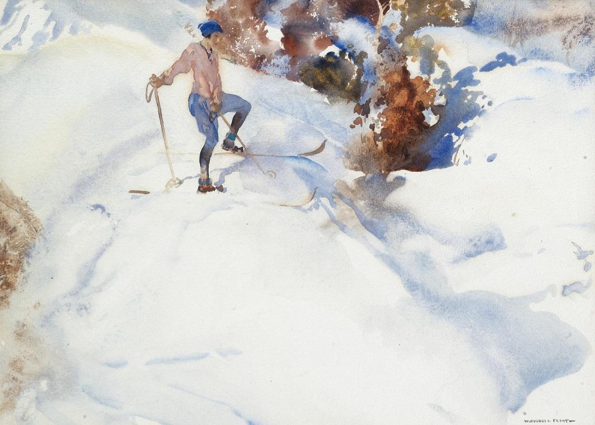 Лыжниуца, Швейцария (The Skier, Switzerland)_25 х 33_акварель_Частное собрание.jpg