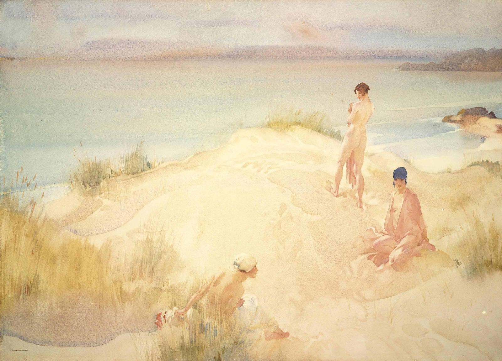Три купающихся красавицы (Three Beauties Bathing)_56.8 x 78.5_бумага, акварель и карандаш_Частное собрание.jpg