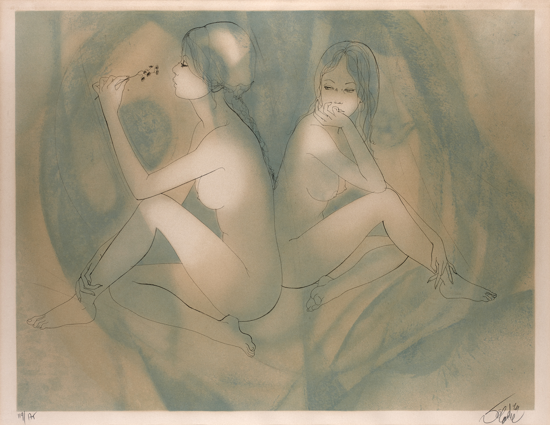 Две сидящих модели или Безразличие (Deux Modeles Assis ou L'indifference)_53 х 68.5_цветная литография.jpg
