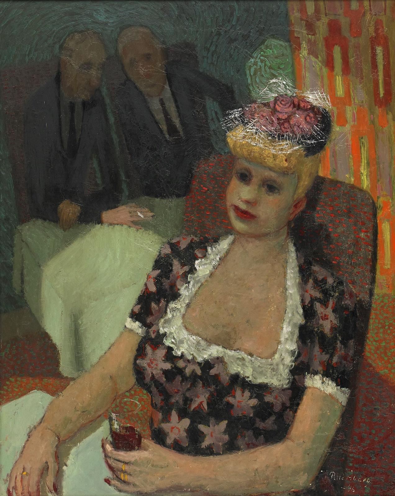 1946_Дама в шляпе в ресторане (Lady in a hat in a restaurant)_80.5 x 65_д.,м._Частное собрание.jpg