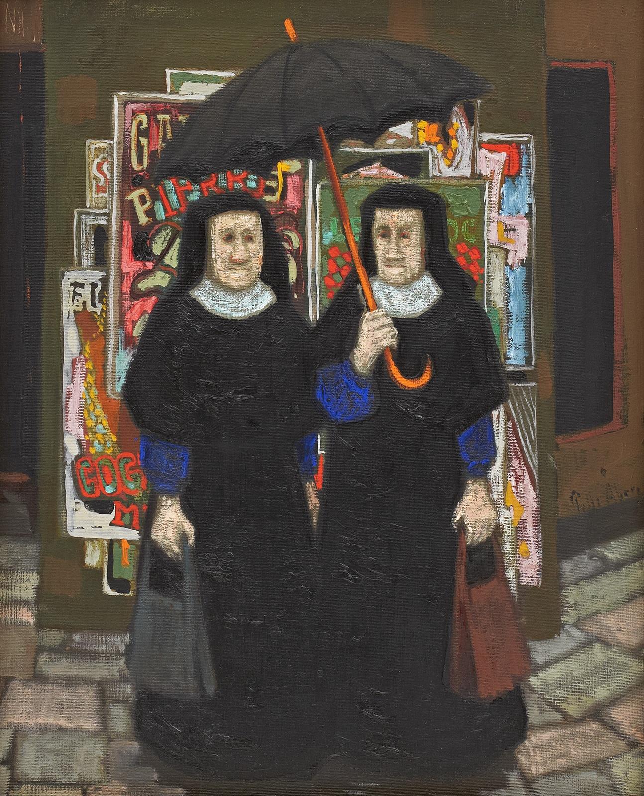 Монахини под зонтиками (Nuns under the umbrella)_46 х 38_д.,м._Частное собрание.jpg