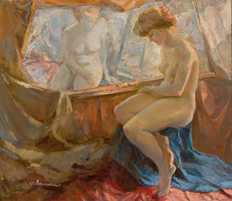 180829-Oleg Lomakin, Sitzender weiblicher Akt neben Aktbild, osl, 59,5 x 69 cm. Zeller.jpg
