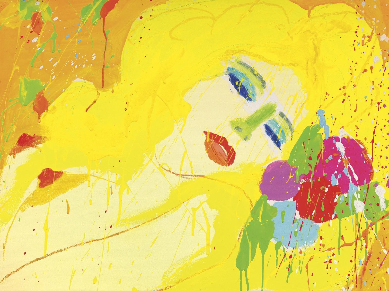 1973_Поцелуй, поцелуй (Женщина с желтыми волосами) (A Kiss, A Kiss (Lady with Yellow Hair))_56 x 76_бумага, акрил и пастель_Частное собрание.jpg