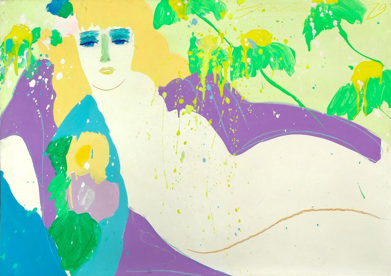 1979_Женщина и цветы (Woman and flowers)_71 х 100_бумага на холсте, акрил_Частное собрание.jpg