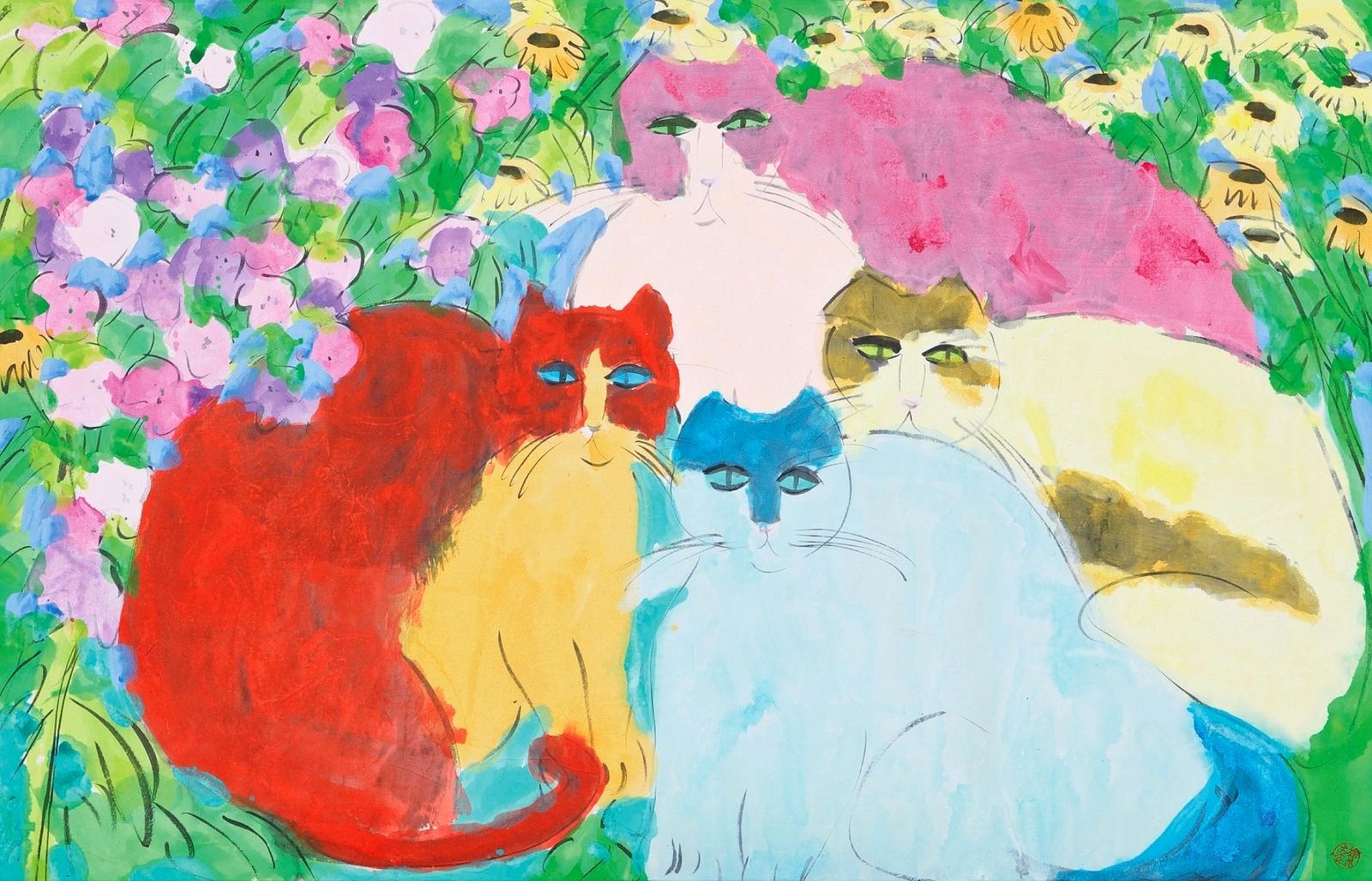 1982_Кошки с цветами (Cats With Flowers)_70 х 108.5_бумага, акрил_Частное собрание.jpg