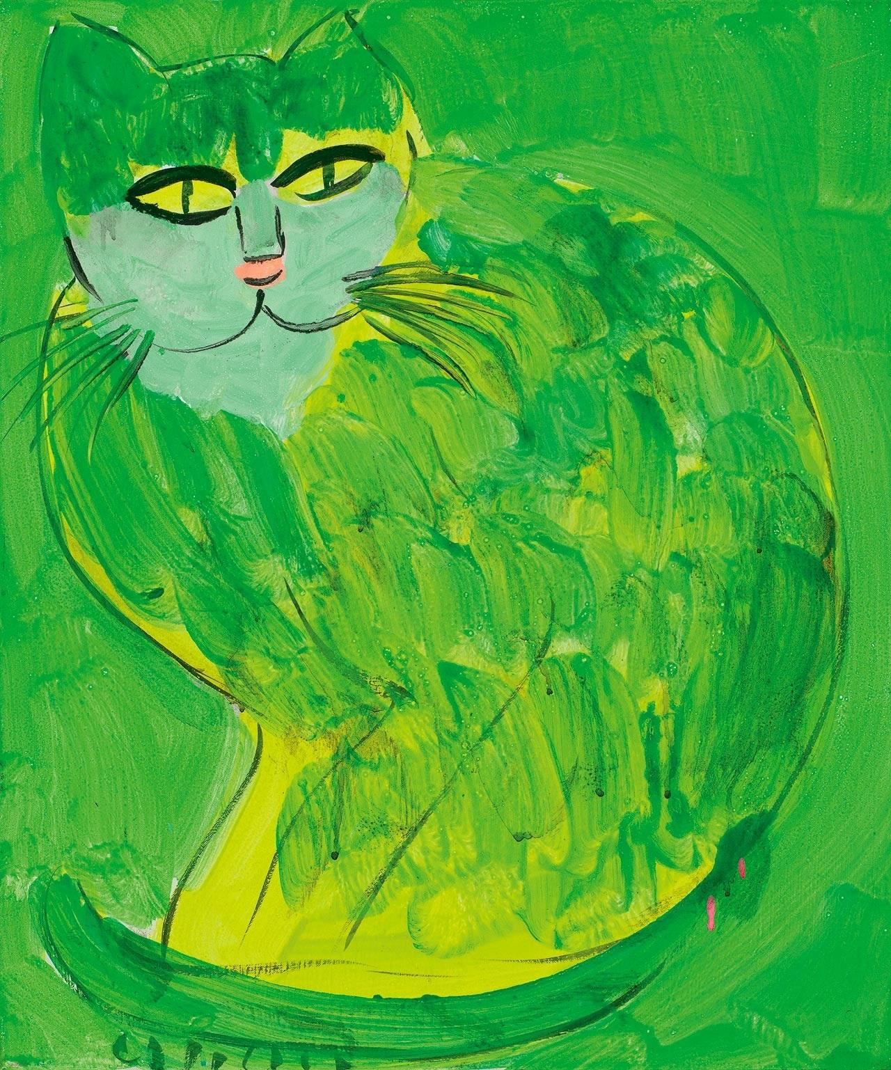 1990_Великолепный зеленый кот (Beautiful Green Cat)_60 x 50_холст, акрил_Частное собрание.jpg