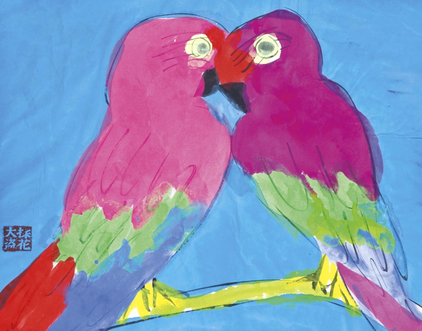Два попугая (Two Parrots)_45 х 57_бумага, акрил_Частное собрание.jpg