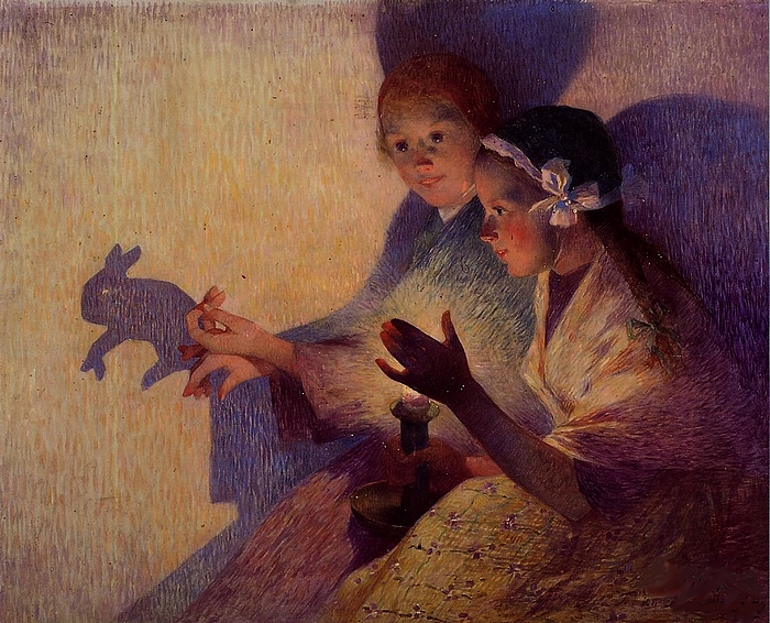 Ferdinand Loyen Du Puigaudeau (1864 – 1930), French - Chinese Shadows, the Rabbit (Китайские тени. Кролик), 1895