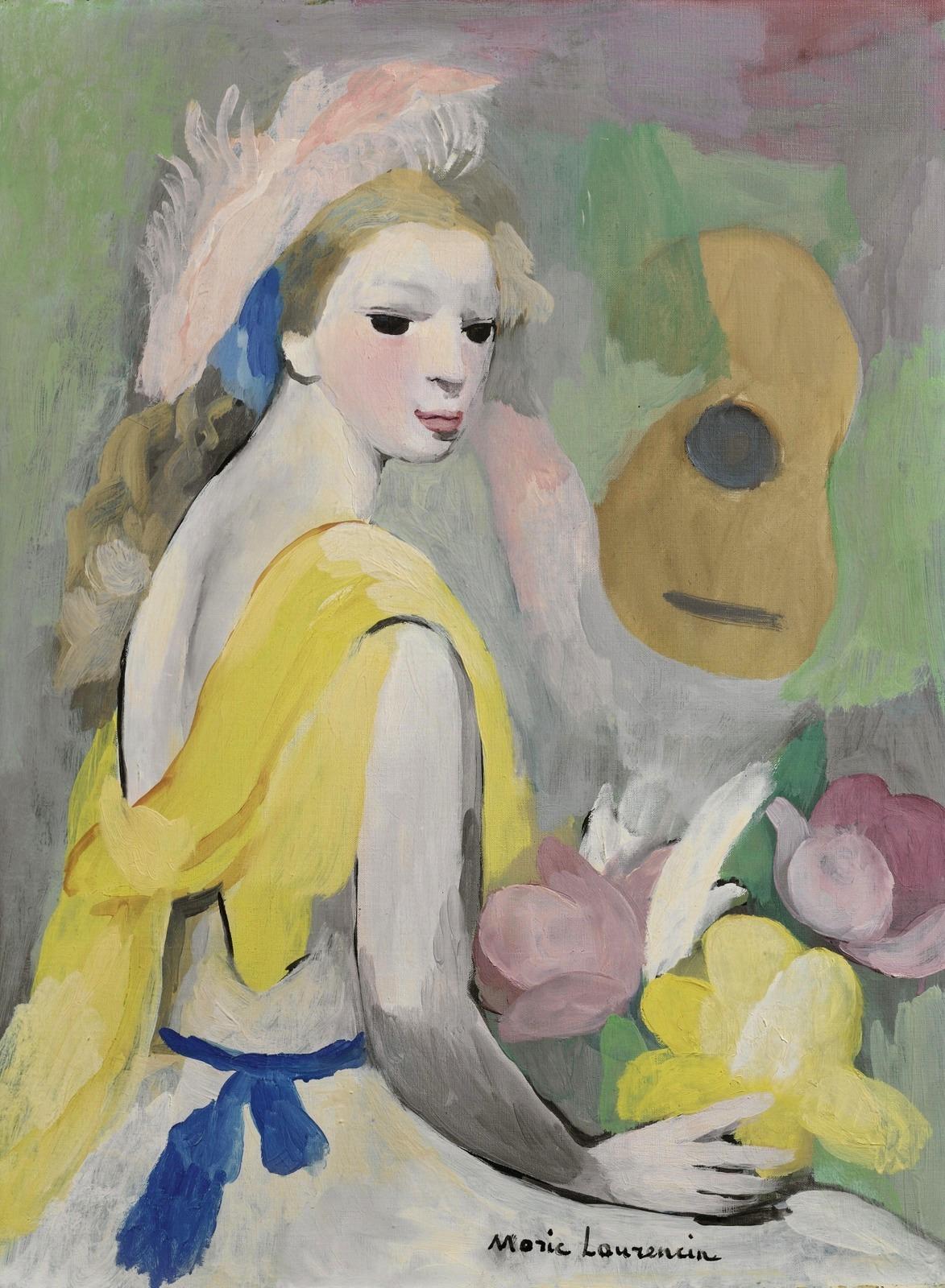 1_Женщина с гитарой и цветами (Femme a la Guitare et aux Fleurs)_61.1 х 45.8_х.,м._Частное собрание.jpg