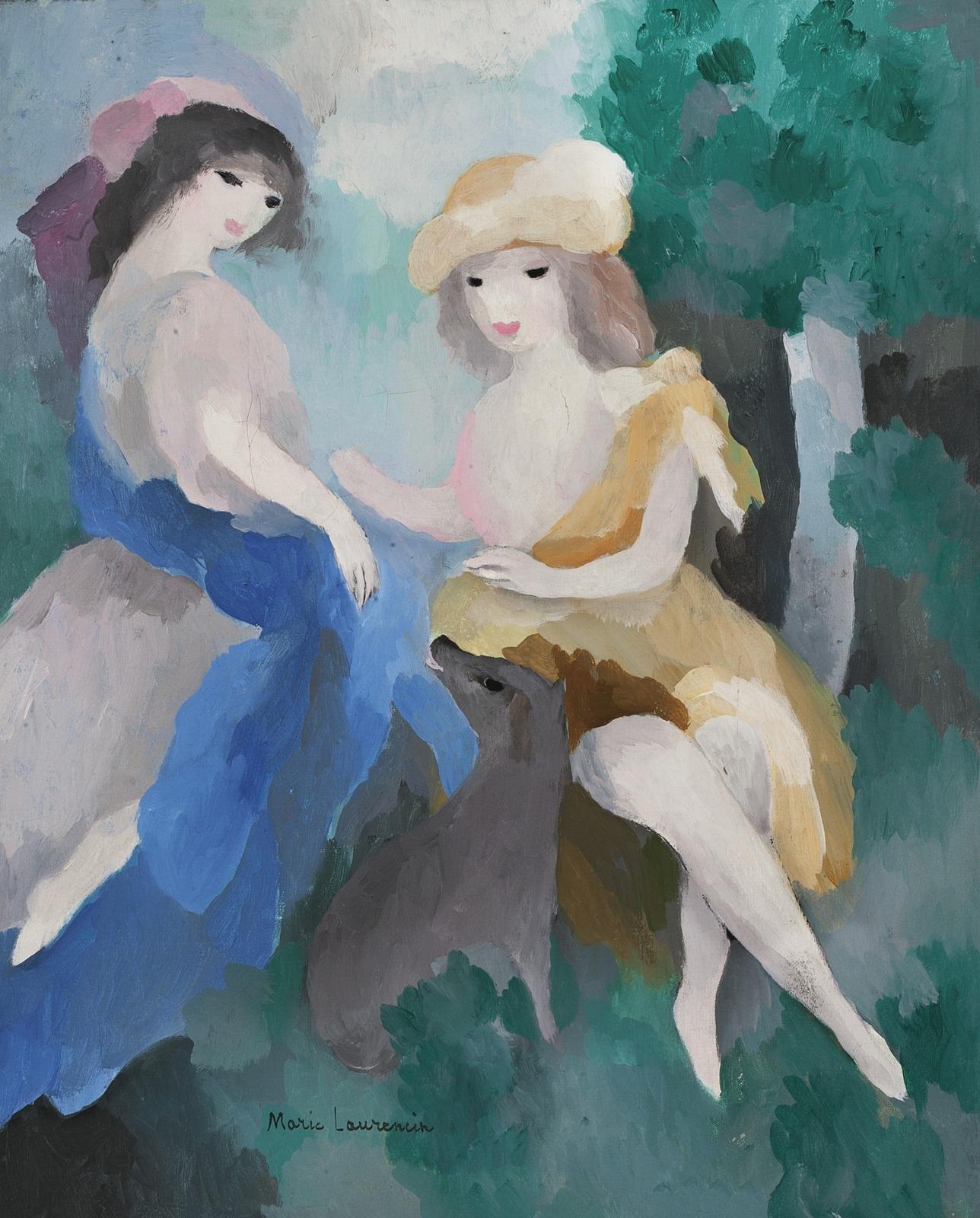 1925-1926_Две девушки и собака в лесу (Deux Jeunes Femmes au Chien En Foret)_46 х 37.8_х.,м._Частное собрание.jpg