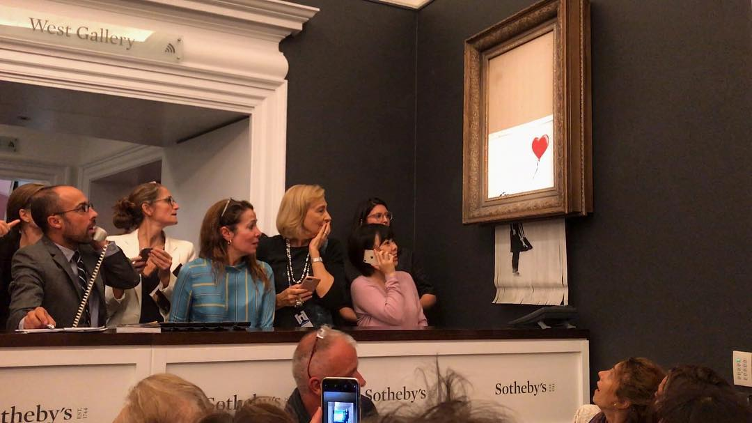 Sold, sold, sold .... Banksy, more, through, unexpectedly, dollars, bidding, became, against, her, Instagram, incident, time, authorities, establishment, hammer, lunge, painting, artist, herself, always