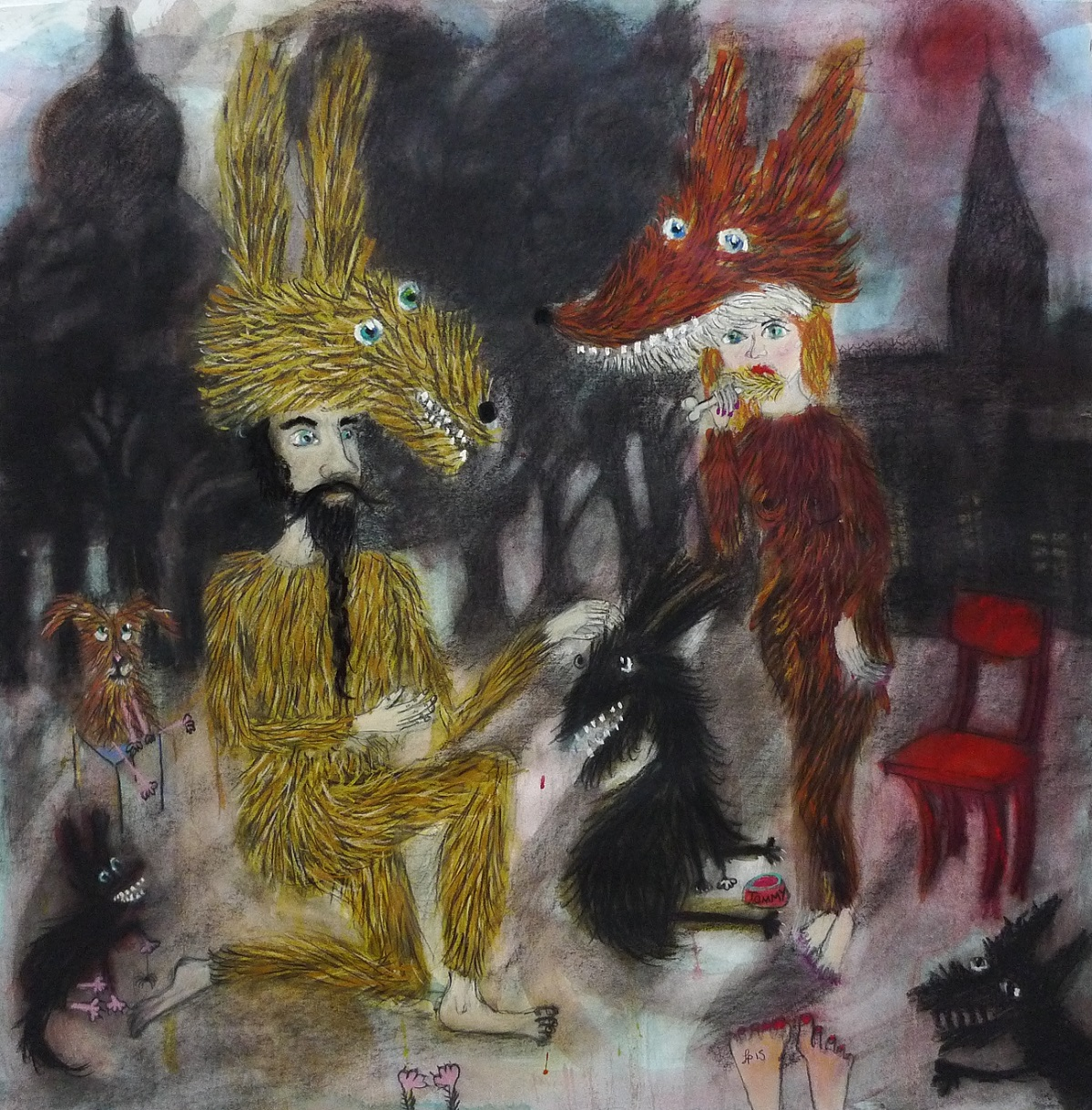 Mr-Hare-and-His-Pet-Dogs-Sid-Clarence-and-Porky-Conte-on-Paper-80-x-80-cm-2015.jpg