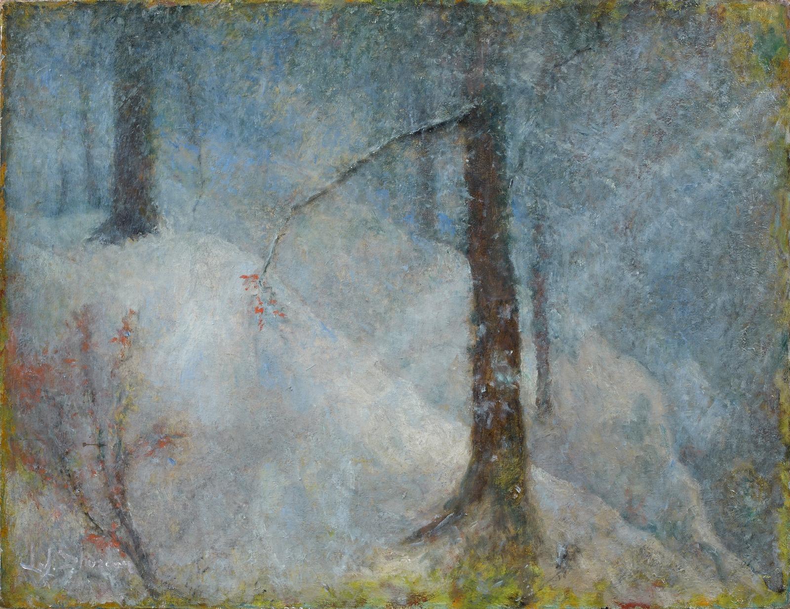 _______ ______ _ _______ _______ (Feuilles d'automnes dans un paysage de neige )_50 x 64.5__.,_.________ ________.jpg