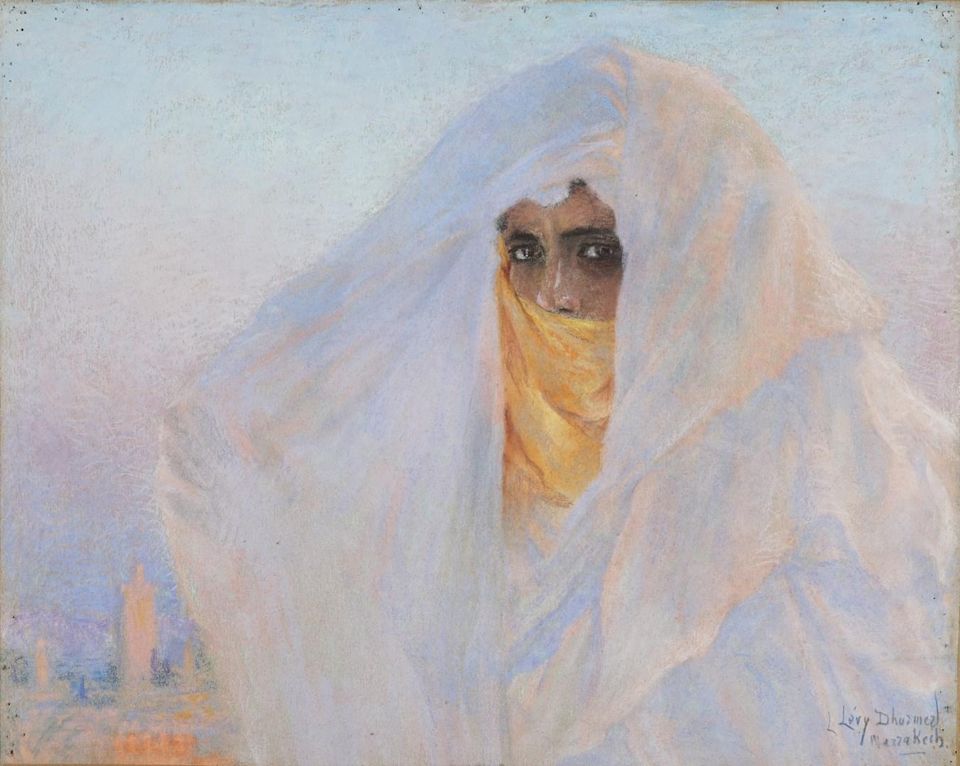 Восточная женщина в вуали, Марракеш (Orientale au voile, Marrakech)_50.5 х 62_бумага, пастель_Частное собрание.jpg