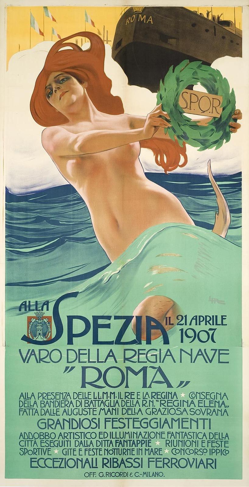 1907_Плакат (Poster Alla Spezia (varo della nave Roma)_149.8 х 104_цветная литография.jpg