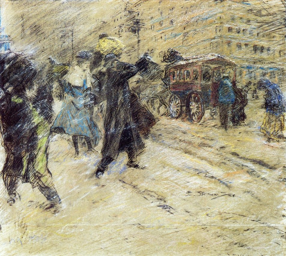 1898 Snow Storm, Madison Square, New York pencil & pastel 57.8 x 65.7 cm.jpg