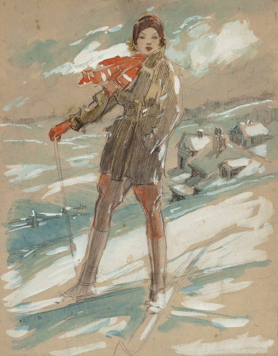 Everett Shinn Susanne Humphreys on Skis, 1931.jpg