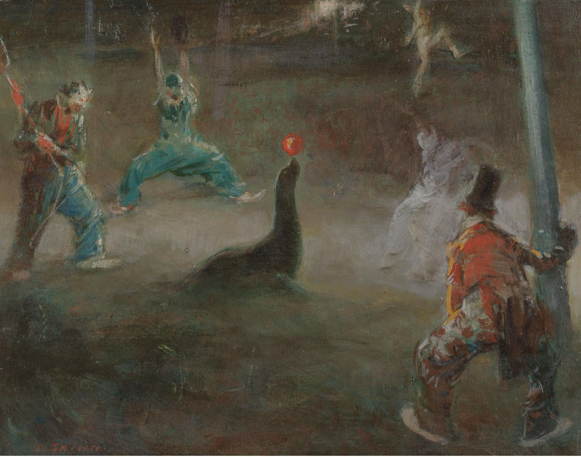 Живопись_Эверетт-Шинн_Clowns-Playing-Ball-with-Seal.jpg