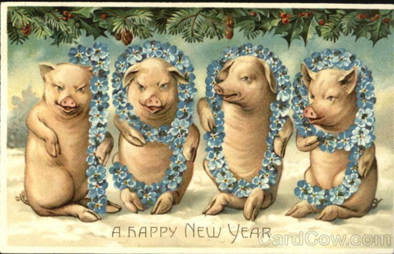 Новогодняя открытка ссср с поросенком, смешные