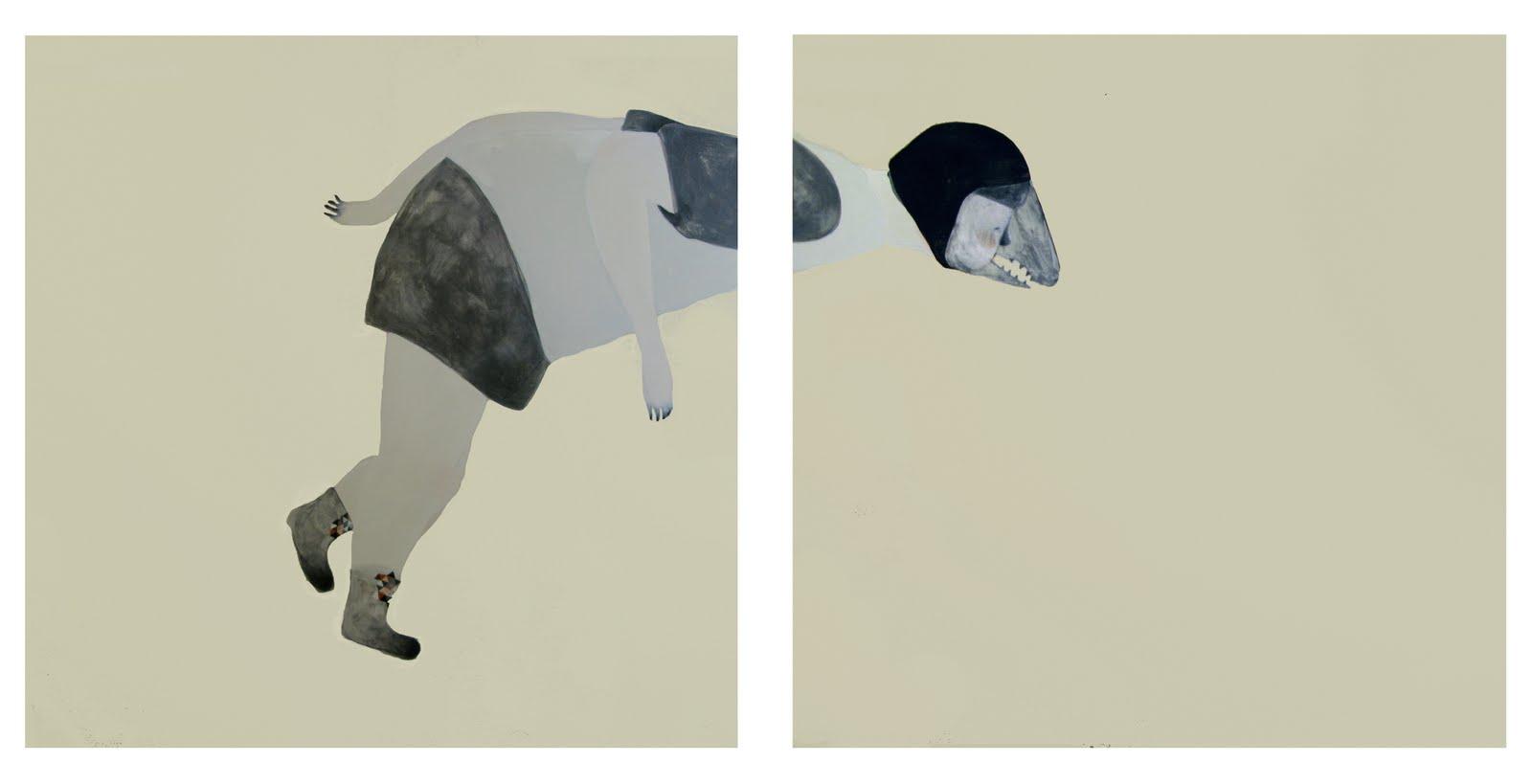 Guglielmo Castelli,perch+¿ sto diventando spregevole agli occhi di chi mi contempla Tecnica mista su tela Dittico 100x200 cm 2010.jpg